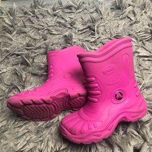 3bbb4818337a98 Hot pink Georgie Wellington Crocs rain boots